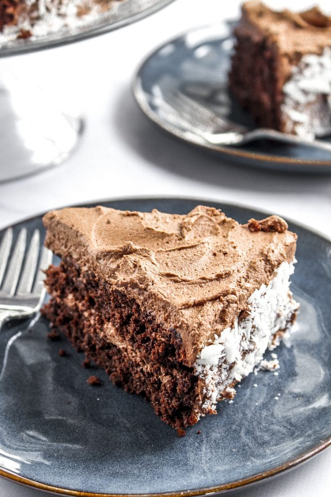 Chocolate Quinoa Cake with Whipped Ganache Frosting and White Chocolate Shavings. WOW.