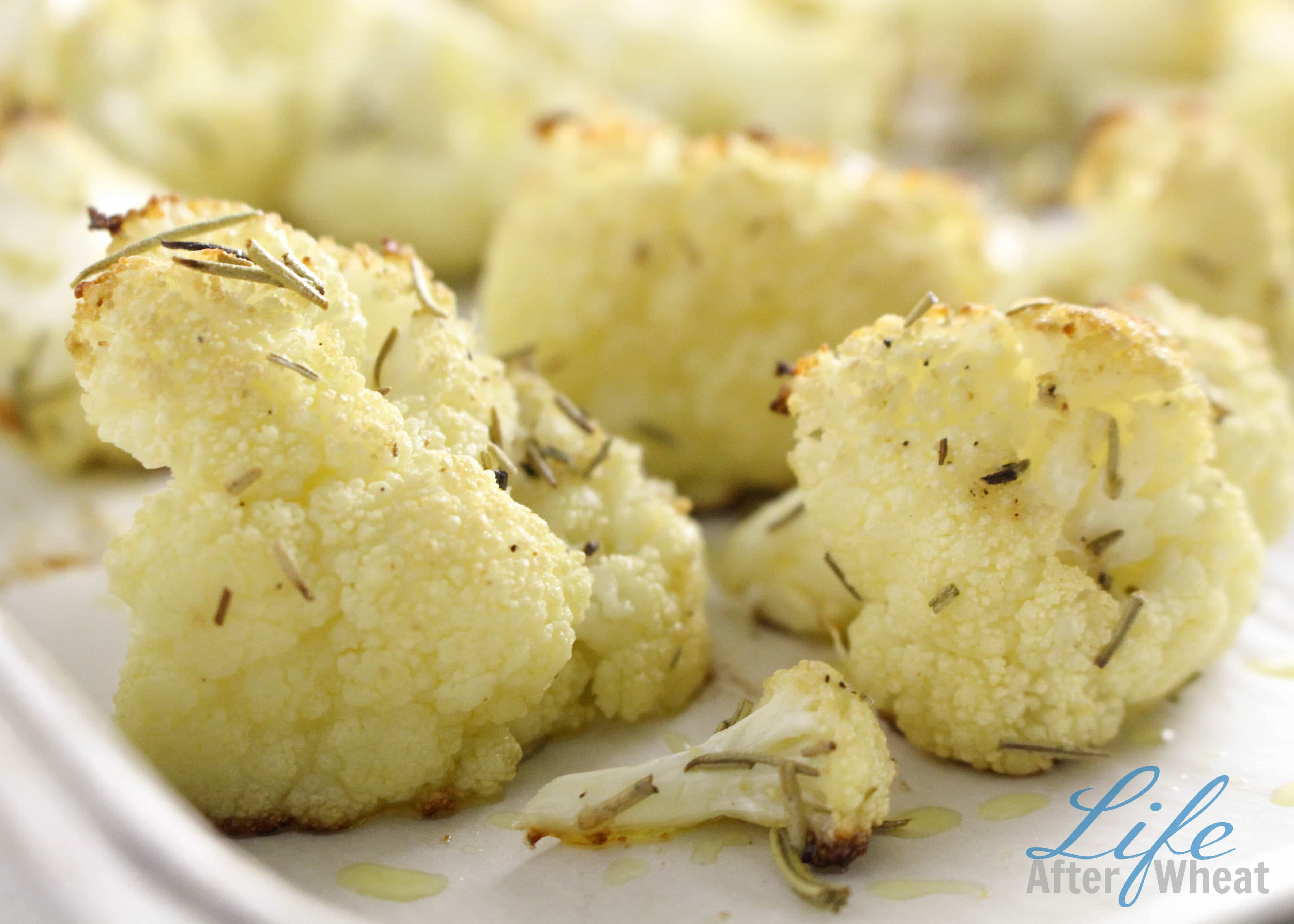 Oven Roasted Cauliflower with the savory flavors of olive oil, rosemary, and sea salt is naturally gluten free, top 8 free, and irresistible even to the pickiest of eaters!