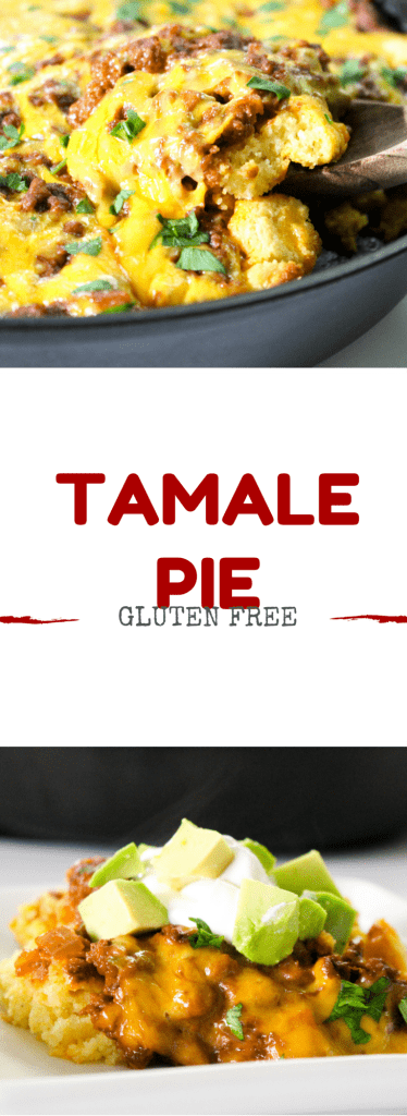 Gluten free tamale pie is cornbread topped with a savory meat filling. All the goodness of a classic tamale but without all the effort!