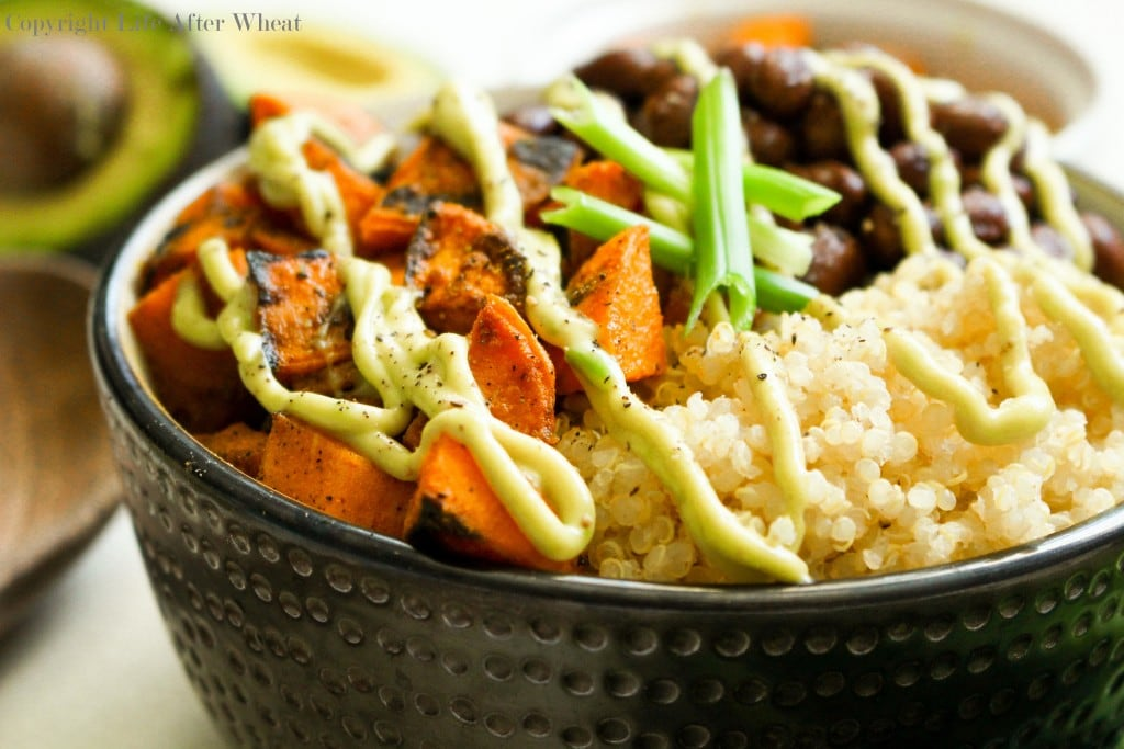 Healthy can be tasty! Dig into this quinoa bowl packed with pan seared sweet potatoes, hearty black beans perfectly paired with a cool avocado cream sauce.
