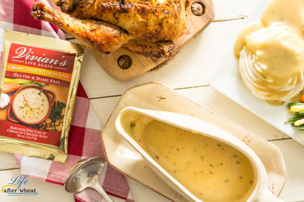 Easy, 3 ingredient gluten free gravy recipe that's also dairy free and tastes AMAZING! ThereIsLifeAfterWheat.com #GlutenFree #GlutenFreeGravy