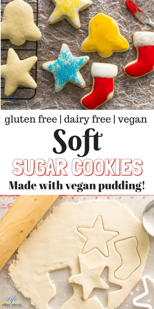 Prepared vegan pudding is the secret to making these soft vegan sugar cookies that are also gluten free. The dough is so easy to work with! ThereIsLifeAfterWheat.com #vegansugarcookies #glutenfree