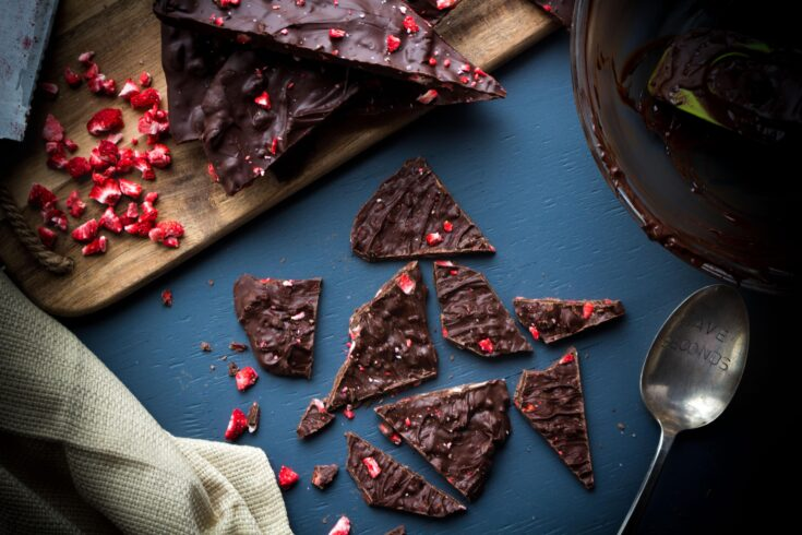 Chocolate Covered Strawberry Bark with Freeze Dried Strawberries