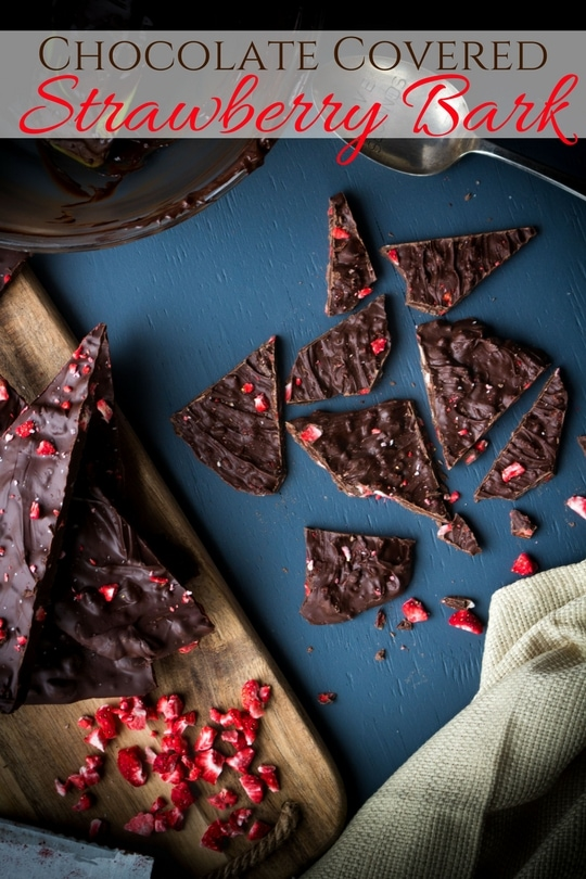 The elegance of chocolate dipped strawberries in an easy-to-make chocolate bark bursting with strawberry flavor!