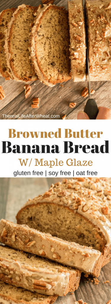 Move over banana bread! This recipe is packed with rich browned butter flavor, crispy toasted pecans, bananas, and a creamy maple glaze.