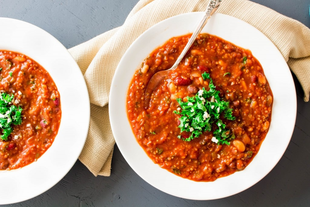This easy chili is the perfect marriage of flavor and nutrition. Packed with nutrient-dense beans, superfood kale, and hearty quinoa, it's a perfect healthy sub for traditional taco soup!