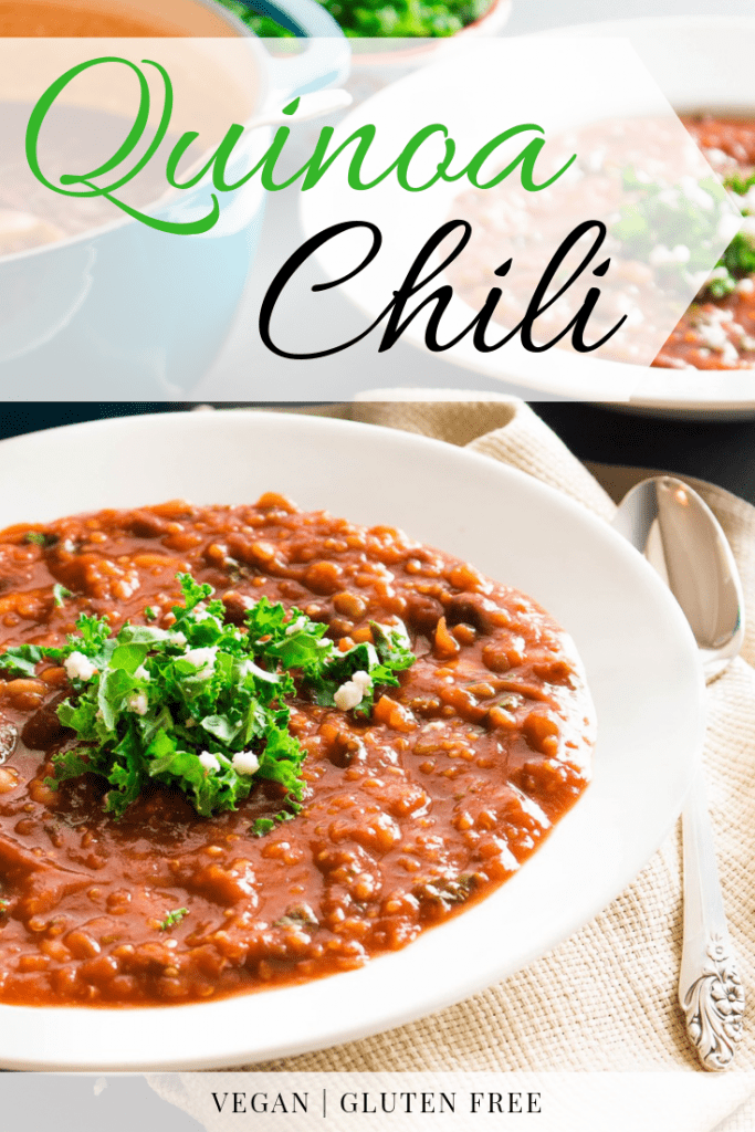 This easy and Kale and Quinoa Chili is the perfect marriage of flavor and nutrition. Packed with nutrient-dense beans, superfood kale, and hearty quinoa, it's a perfect healthy sub for traditional taco soup!
