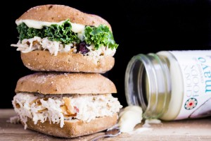 Whole grain gluten free bun piled high with a fresh Coconut Chicken Salad! You'll love the creamy coconut oil mayo, coconut rice, toasted almonds and juicy cranberries!