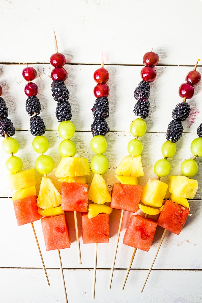 Kids will love assembling these DIY fruit kabobs! Use any fruit to make them for any holiday or event!