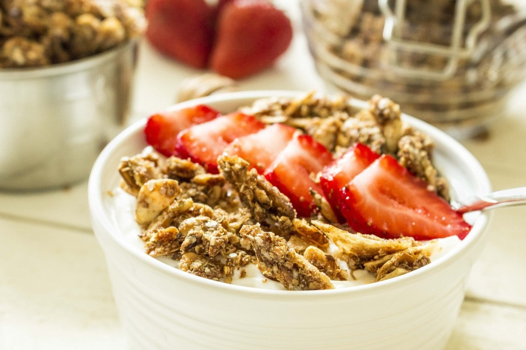 Protein pack your granola with QUINOA! This recipe is naturally sweetened with honey and uses only real, healthy ingredients.