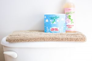Environmentally friendly and family-safe natural household products by Rebel Green include this lovely room spray and tree free toilet paper!