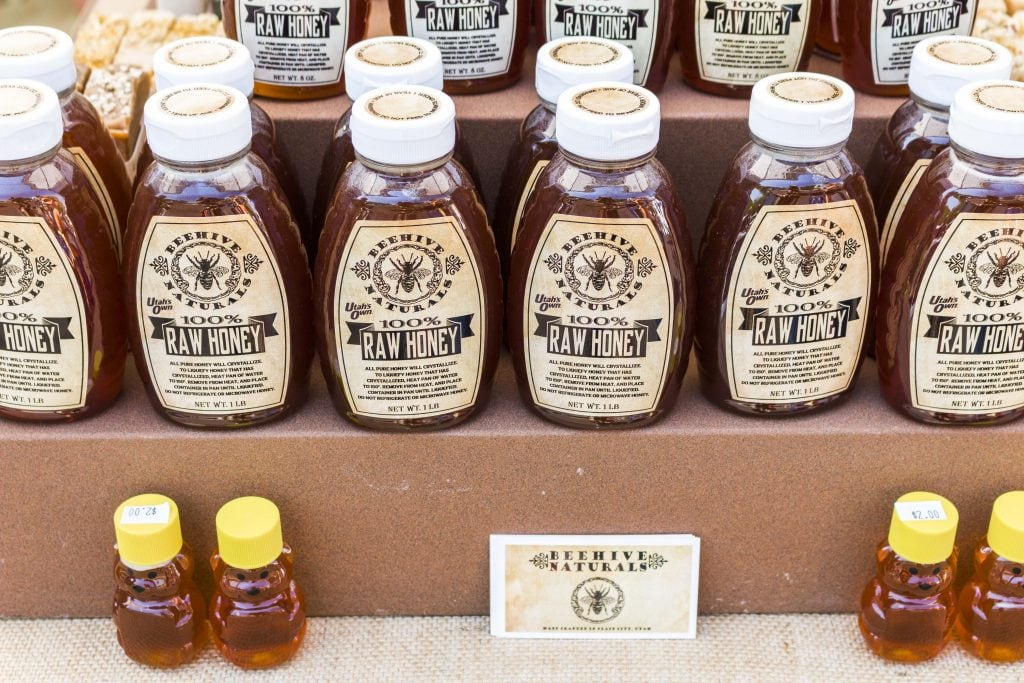 Natural, raw honey for sale at the Ogden Farmer's Market
