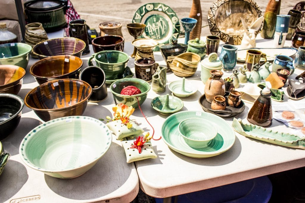 Handmade pottery at the Ogden Farmer's Market