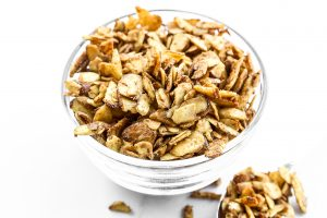 Cardamom Spiced Almonds add a show-stopping finish to many a dish, and are also great by the handful! Sweetened with coconut sugar, they're also a healthy snack. Top salads, coconut rice, and more.