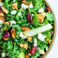 Cranberry Kale Salad with Cardamom Spiced Almonds and Homemade Cranberry Vinaigrette