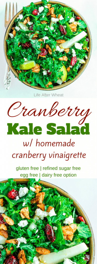 Cranberry Kale salad is a deliciously festive dish with tart cranberries, crisp kale, and sweet pears. It is topped with fresh gorgonzola and cardamom spiced almonds then drizzled with a homemade cranberry vinaigrette. It is the perfect marriage of flavors and a great addition to any party or get together. Simple enough to make for lunch but also beautiful for a more formal meal.