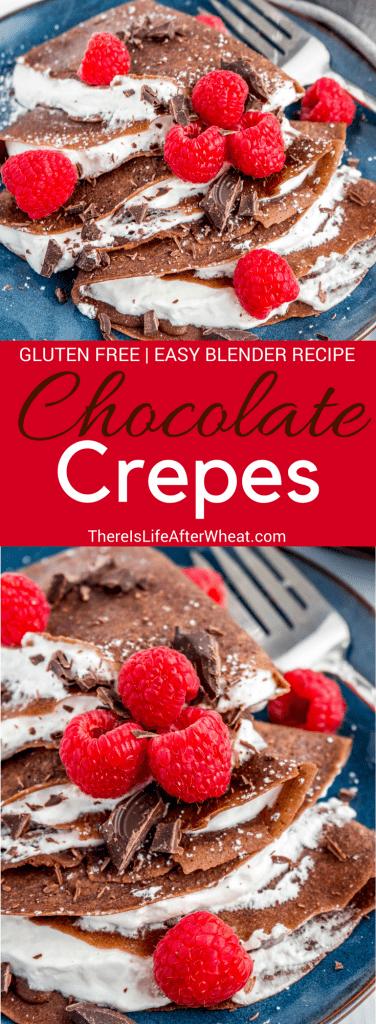 Chocolate Gluten Free Crepes Pinterest Image