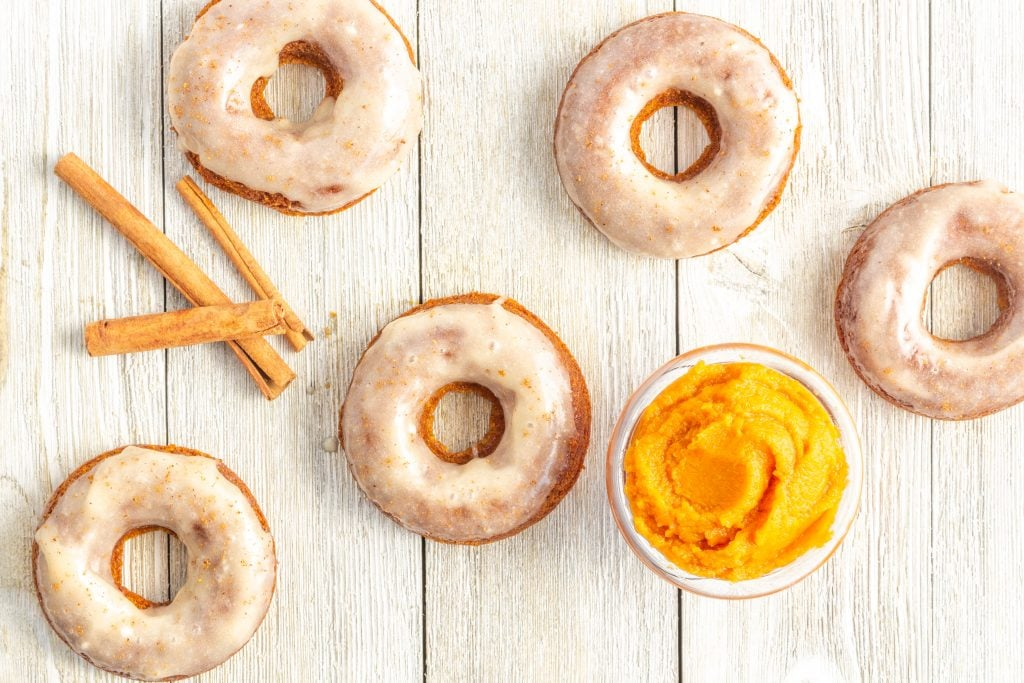 All you'll need to make these Pumpkin Spice Donuts are a few simple ingredients, a bowl, and a spoon! They're naturally grain free, paleo, gluten free, and dairy free too.