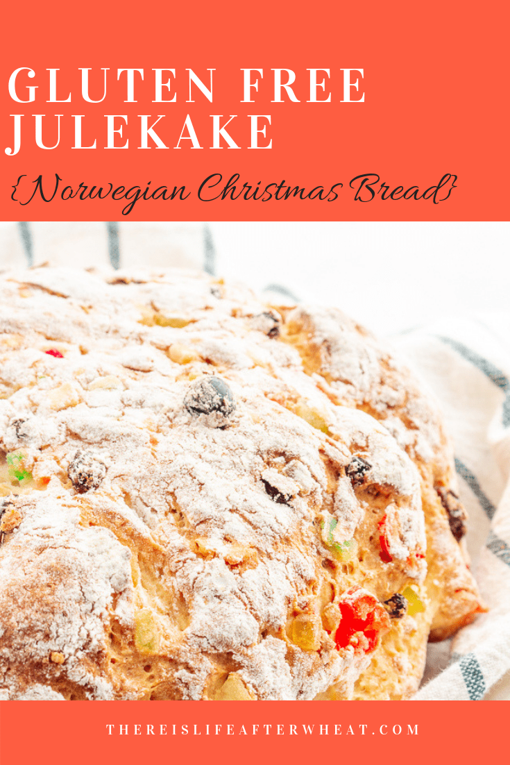 A beautiful Norwegian Christmas bread studded with raisins and candied fruits with a subtle hint of cardamom. This gluten free julekake is light, fluffy, and SO easy to make!