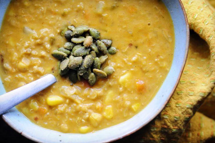 Spicy Southwestern Corn, Potato, Quinoa, and Red Lentil Chowder (Gluten-Free, Vegan)