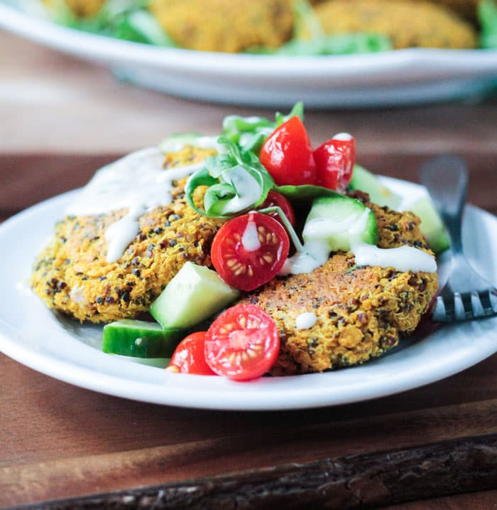 Baked Red Lentil Quinoa Fritters (gluten free, vegan)