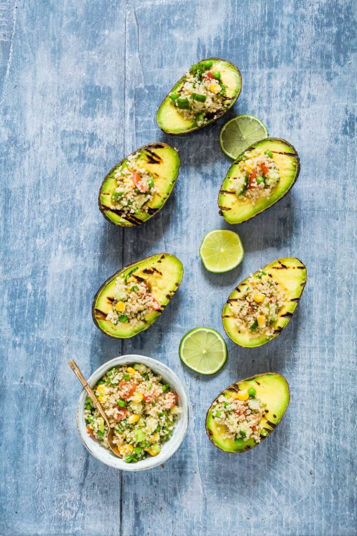 Grilled Avocado Stuffed with Veggie Quinoa (Vegan, Gluten-Free)