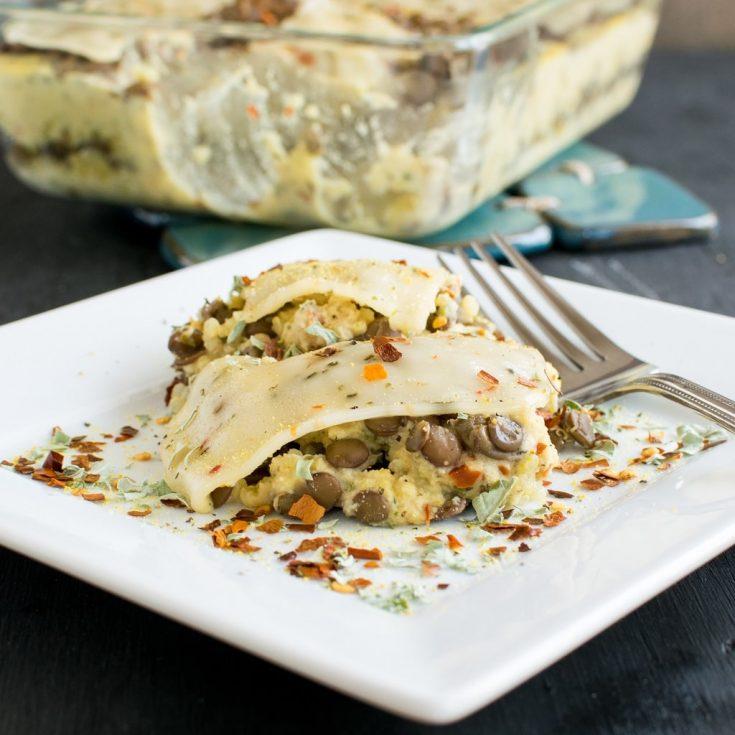 Cheesy Lentil Quinoa Vegan Casserole