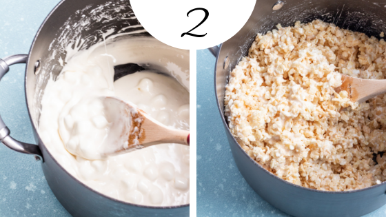 How to Make the BEST Rice Krispie Treats Step 2: Add extra marshmallows and rice krispies and stir