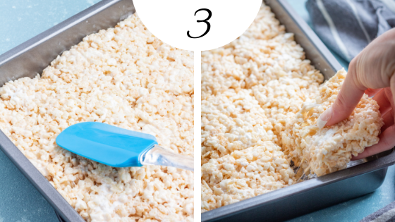 How to Make the BEST Rice Krispie Treats Step 3: gently pat into a pan and eat!