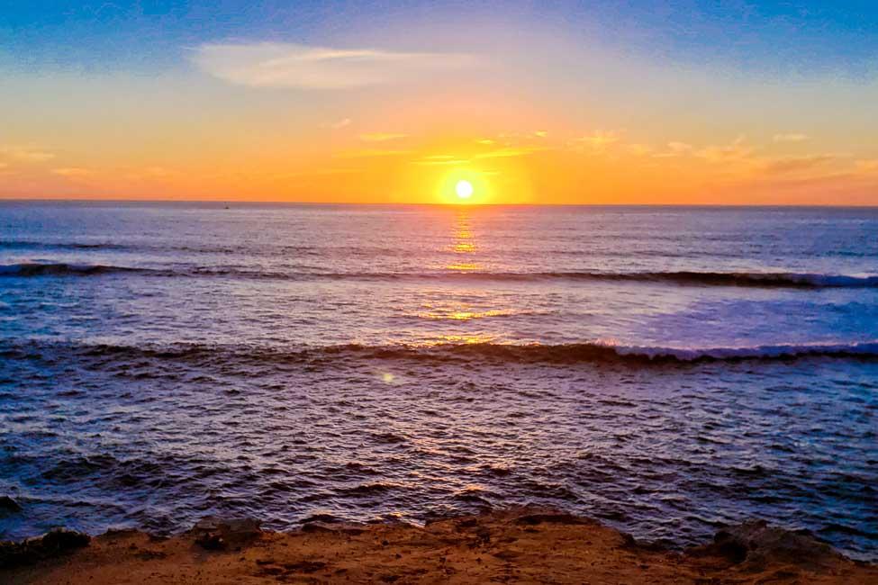 Sun setting over the ocean in San Diego, California