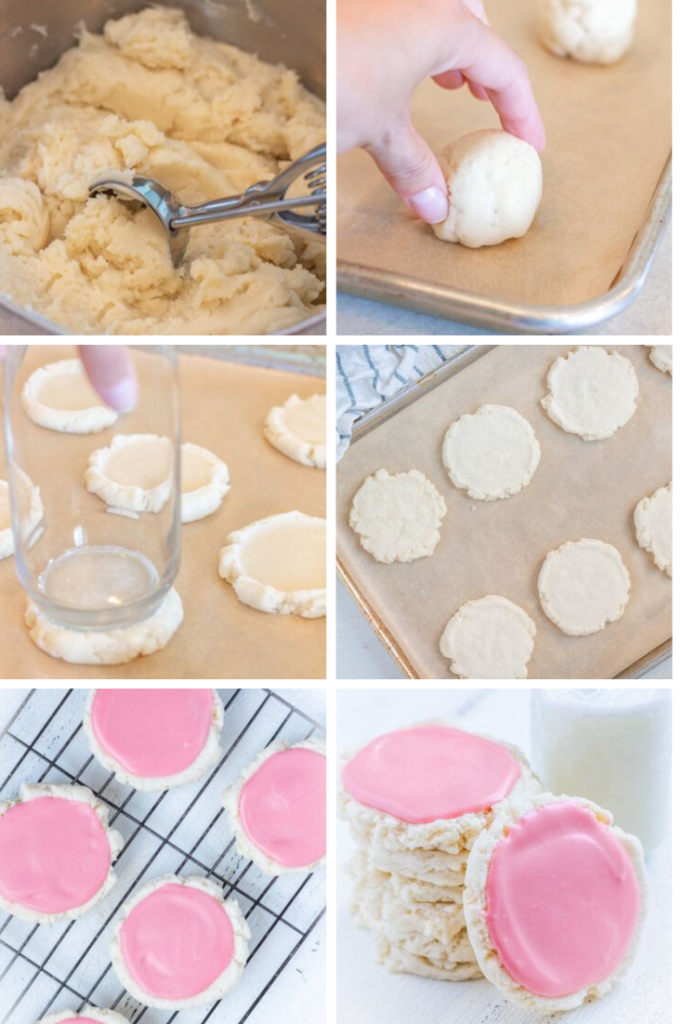 Step by step pictures showing how to make Swig sugar cookies. Cookie scoop in dough, hand putting ball of dough on baking sheet, pressing down on ball of dough with a glass, flattened cookies ready to be baked, frosted cookies on a cooling rack and stacked with a glass of milk.