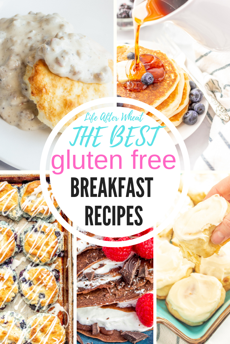 Pictures of gluten free breakfast recipes: blueberry biscuits, chocolate crepes, cinnamon rolls, biscuits and gravy, and a stack of pancakes.
