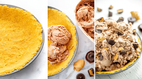3 steps to make an ice cream pie: empty crust, scoops of ice cream in the crust, then a full ice cream pie with peanut butter cups