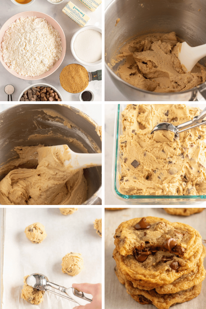 Pictures of gluten free chocolate chip cookies, step by step. Ingredients, dough as it is being mixed, finished dough being scooped onto cookie sheet, and a stack of the cookies, one with a bite taken out of it.