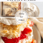 Gluten Free Strawberry Shortcake: easy to make! 3 pictures. 1: hands scooping dough onto a baking sheet; 2: whipped cream on a whisk; 3: strawberry shortcake
