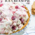 Vanilla ice cream with raspberries in a graham cracker crust