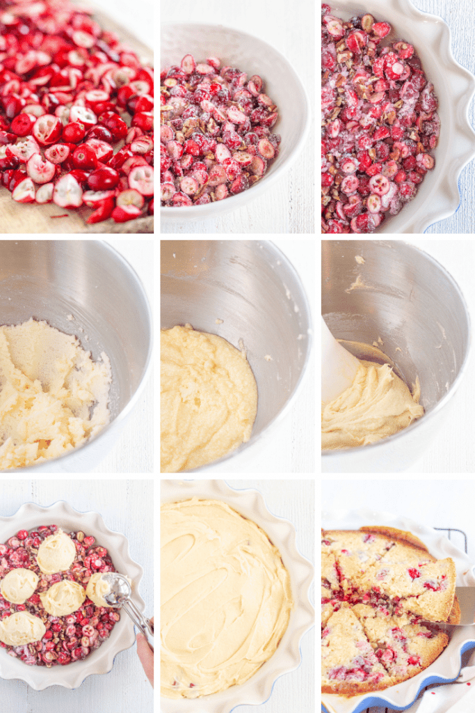 Step by step how to make gluten free Nantucket cranberry pie. Chopped cranberries, mixture of cranberries, sugar, and pecans, various stages of batter, scooping batter onto cranberry mixture, smoothing it out, then a baked pie.