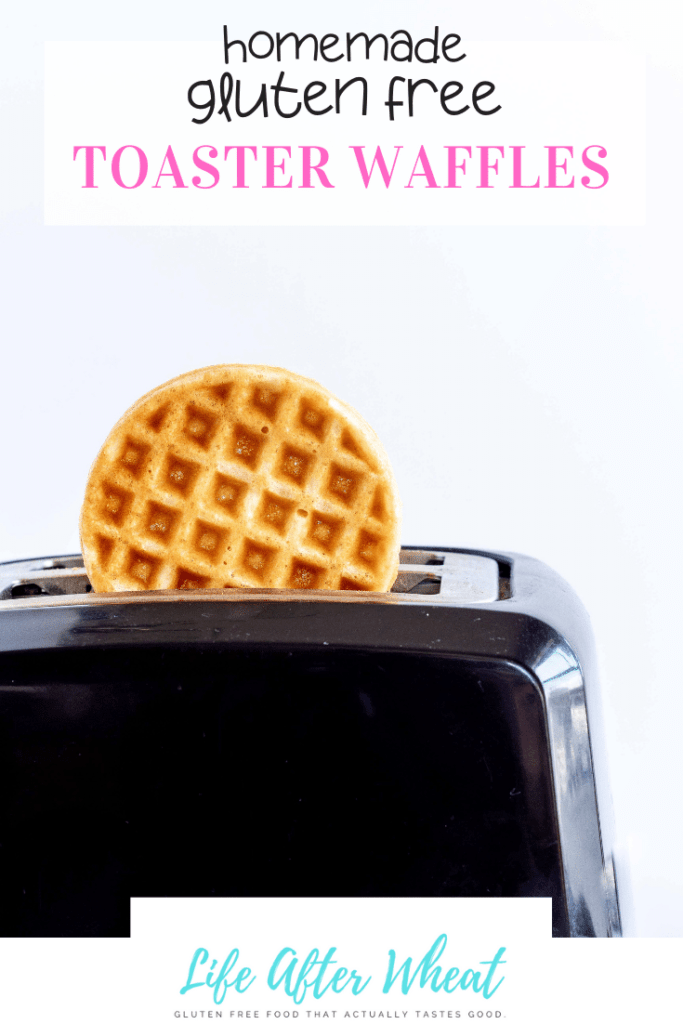 """Waffle in toaster along with text """"homemade gluten free toaster waffles"""""""