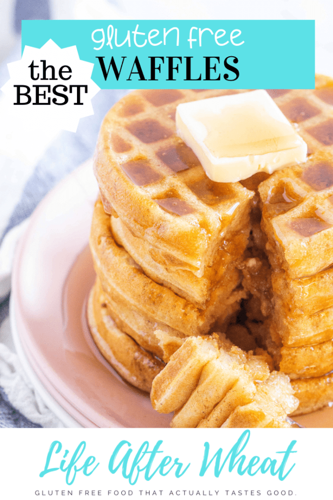stack of 5 gluten free waffles with a pat of butter on top, syrup drizzled over, and a bite sitting on plate